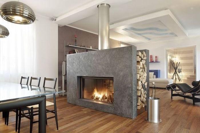 meuble separateur insert cheminée interieur beton double face bois