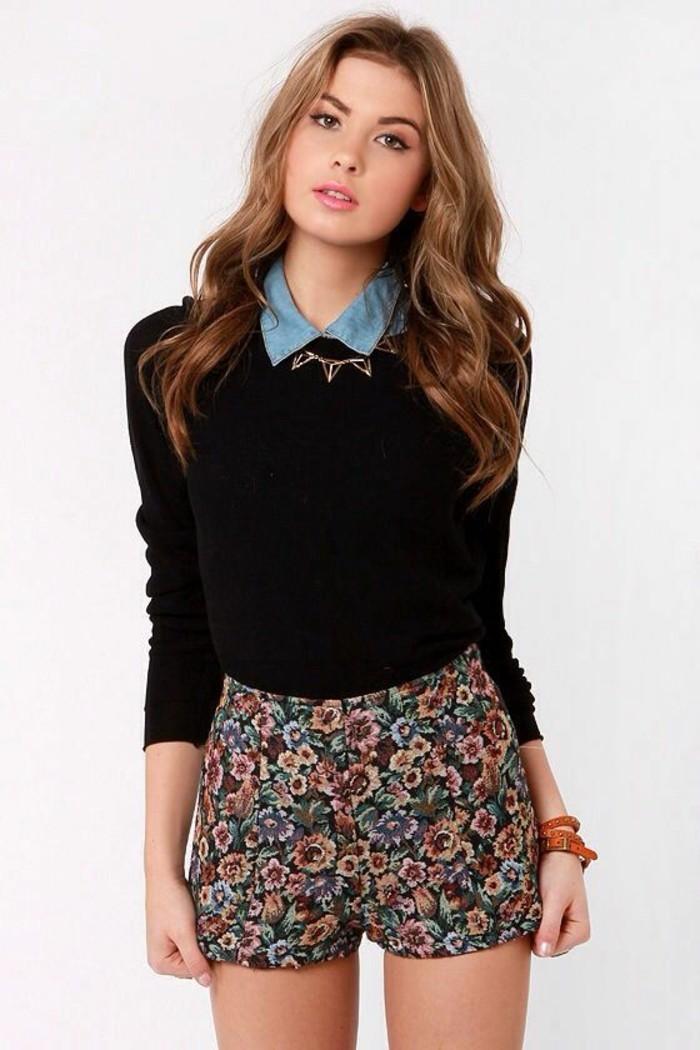 mini-short-floral-chemise-col-claudine-effet-jean-pull-noir
