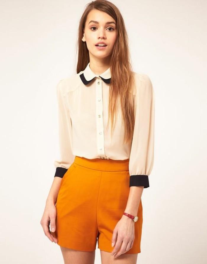 mini-short-jaune-moutarde-chemise-col-claudine-floue-style-rétro