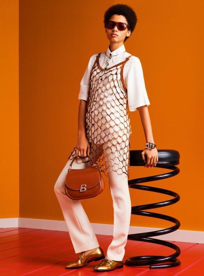 mocassins femme vernis couleur bronze avec sac marron clair
