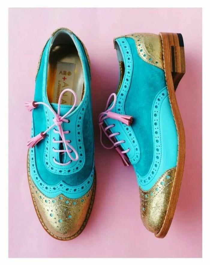 mocassins femme vernis ABO shoes avec le devant bronzé et bleu océan