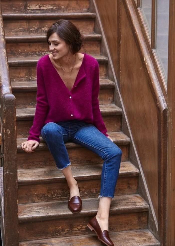 mocassin cuir femme marron à porter avec des jeans et non seulement