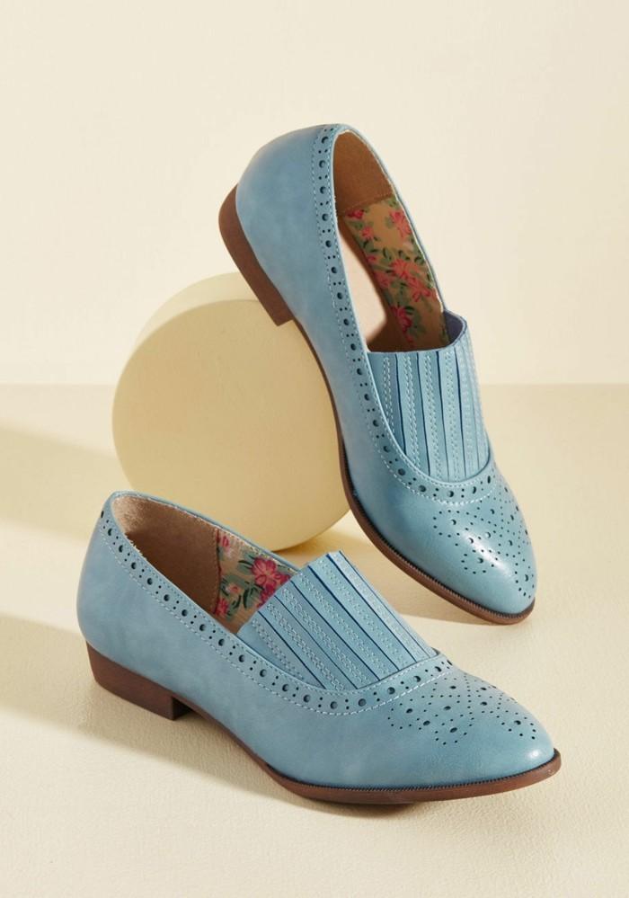 mocassin cuir femme blue pastel bout pointu