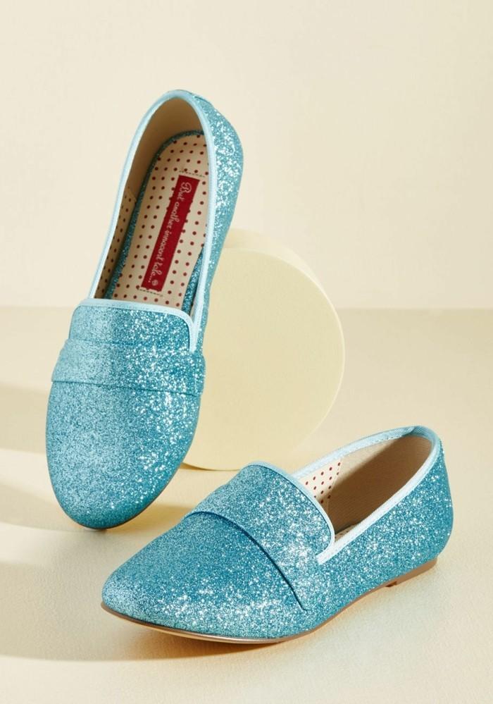 moccassin femme bleu paillettes disco bouts pointus