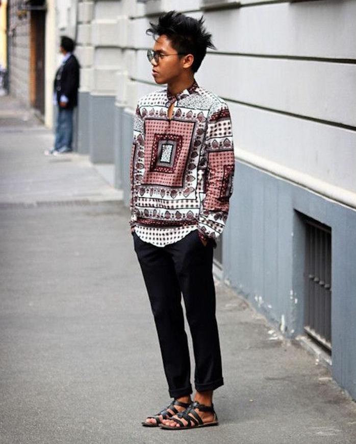 t shirt année 80 genre chemise style africain