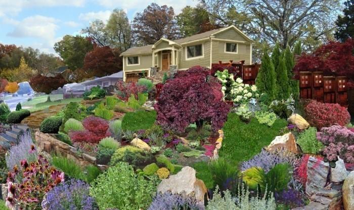 modele-de-jardin-entourant-une-maison-rocaille-fleurie-plusieurs-plantes-différentes-jardin-riche-en-couleurs