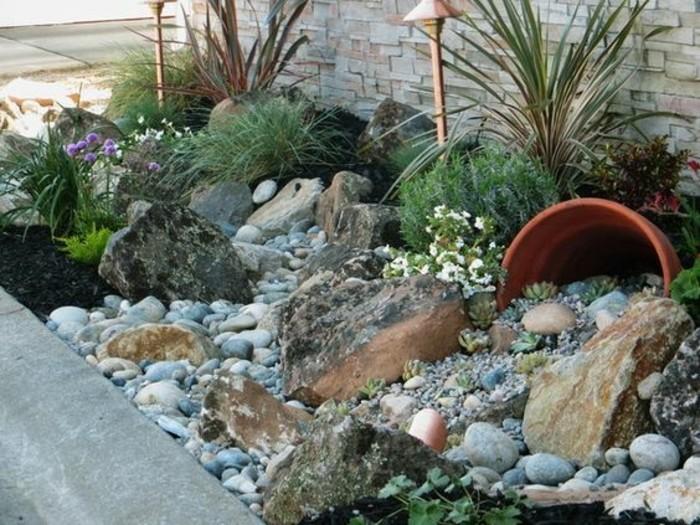 1001 id es et conseils pour am nager une rocaille fleurie charmante - Decoration jardin avec galets ...