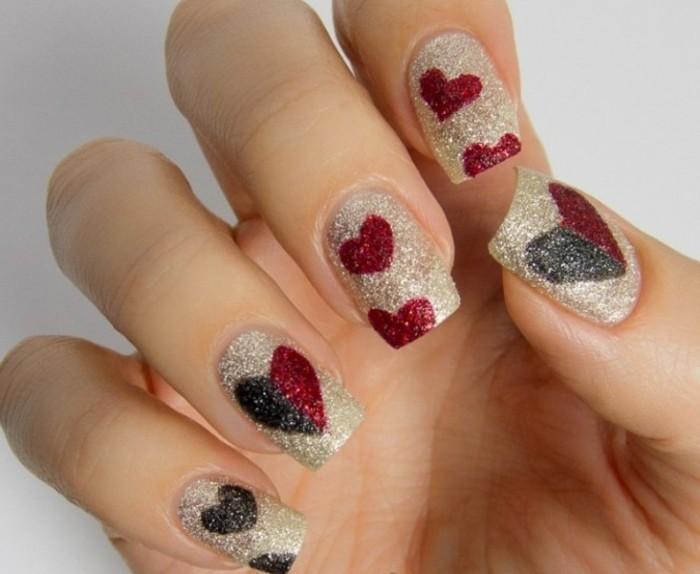 modele-ongle-gel-manucure-brillante-dessin-couers-rouge-et-noir