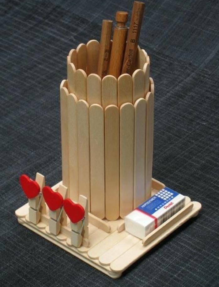 Pot A Crayon A Decorer Bois