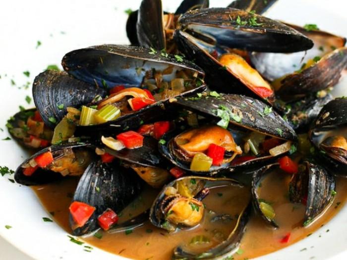 recette de moules avec des poivrons, idée que faire en cas de carence de fer, aliment riche en fer, fruit de mer
