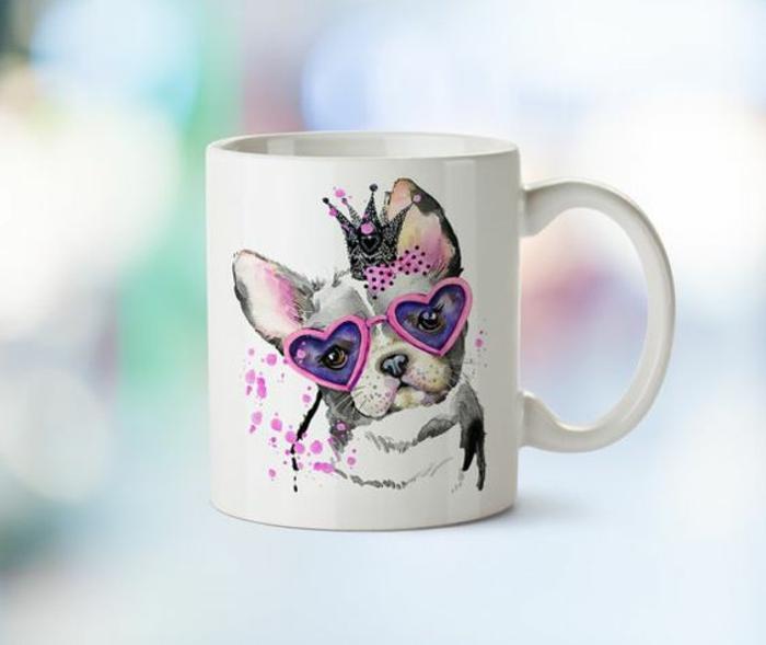 mug personnalisable, chien aux lunettes roses
