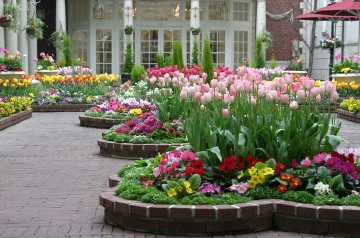 plusieurs ilots fleuris, tulipes et autres fleurs printanières, parterre de fleurs, idée aménagement jardin, decoration florale