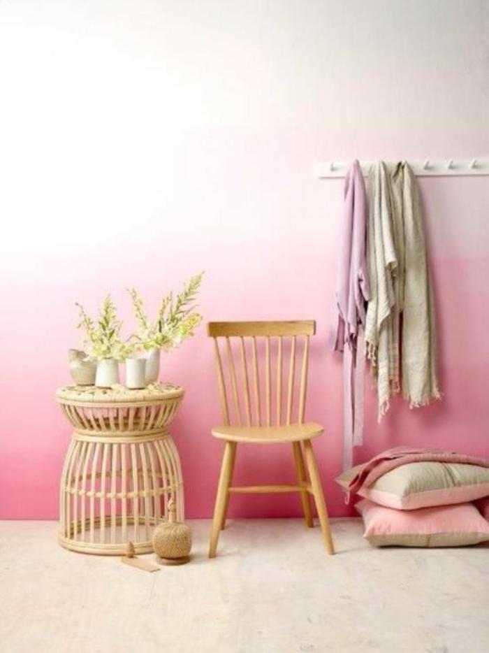 mur-ombré-rose-déco-chambre-ado-fille-tendance-peinture-murale