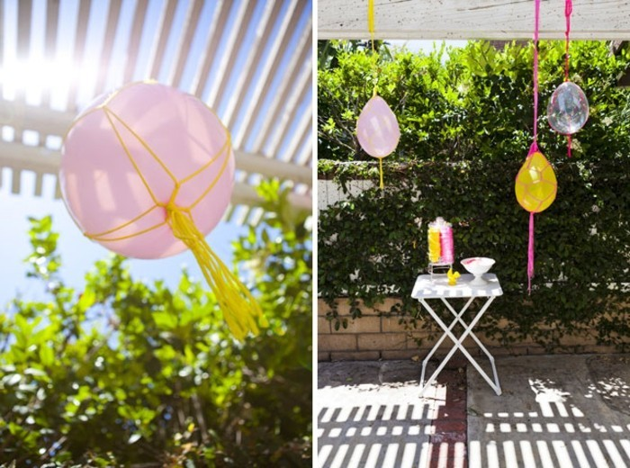 diy macramé, décoration pour le jardin, anniversaire, ballons personnalisés