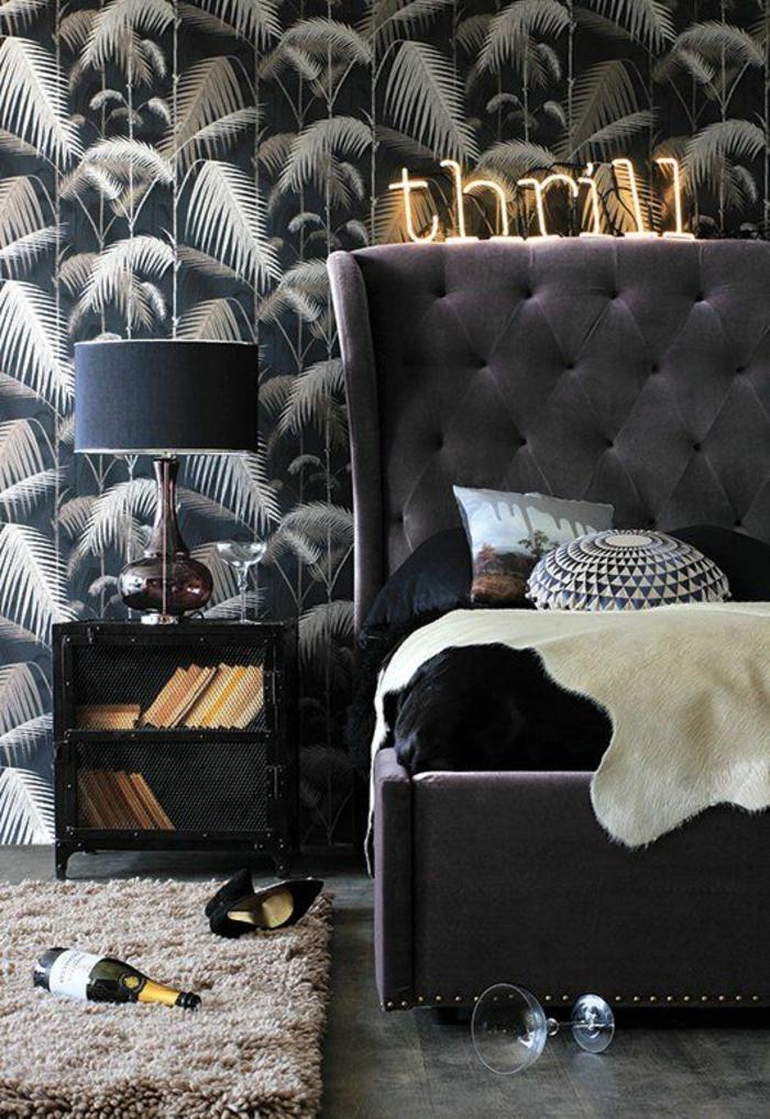 nouvelle-tendance-papier-peint-tropical-noir-et-blanc-déco-noire
