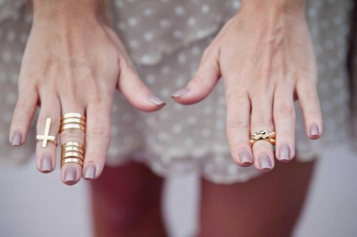 comment porter une bague phalange dorée, des bijoux à la fois punk et glamour