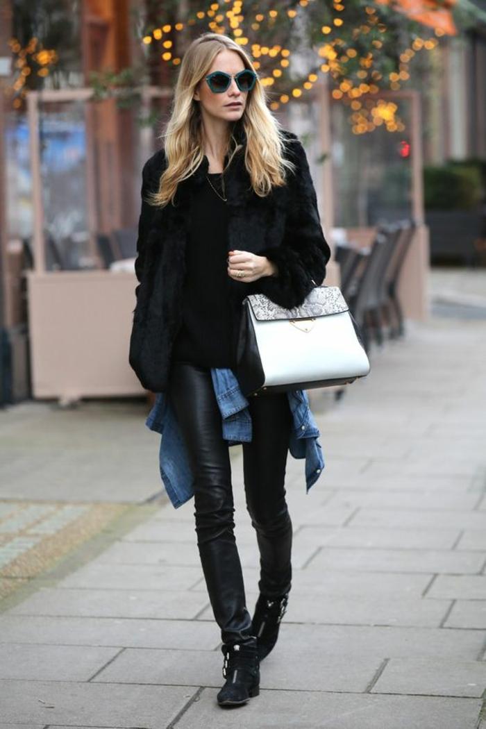 panatlon-cuir-noir-manteau-fourrure-sac-à-mains-élégant