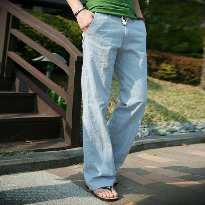 pantalon bleu clair été homme évasé en coton