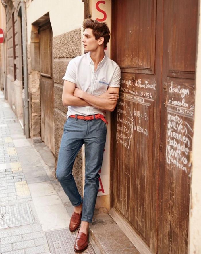 pantalon lin homme couleur bleu jean
