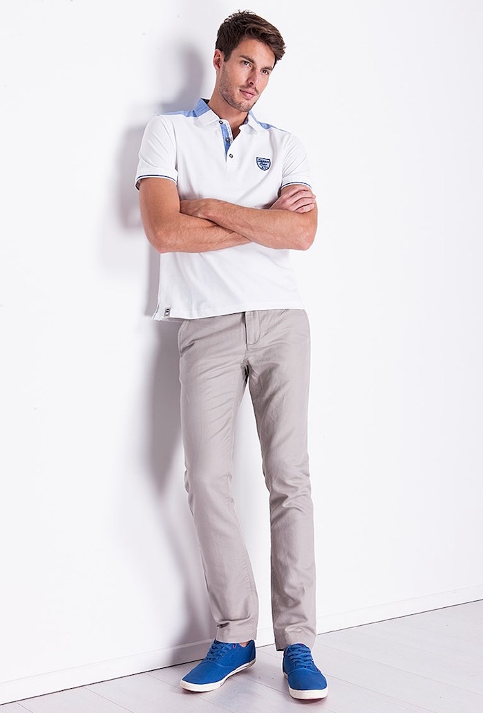 pantalon slim homme gris style chino beige armand thiery soldes