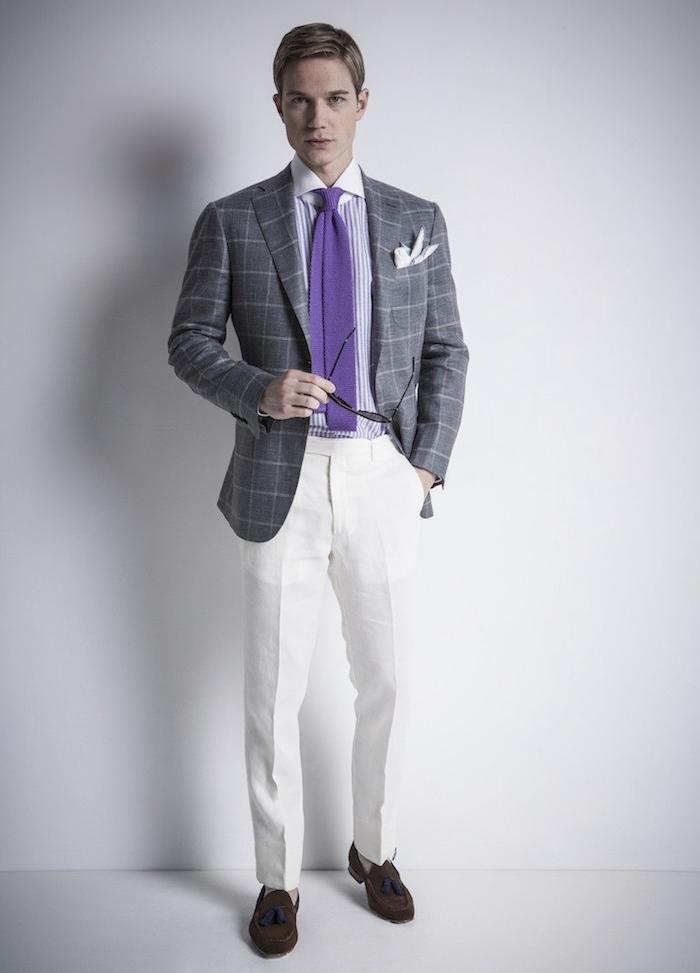 pantalon a pince en lin blanc homme été