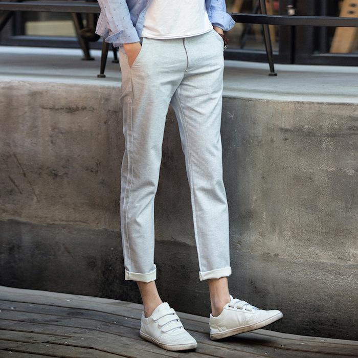 pantalon slim homme court bleu clair lin