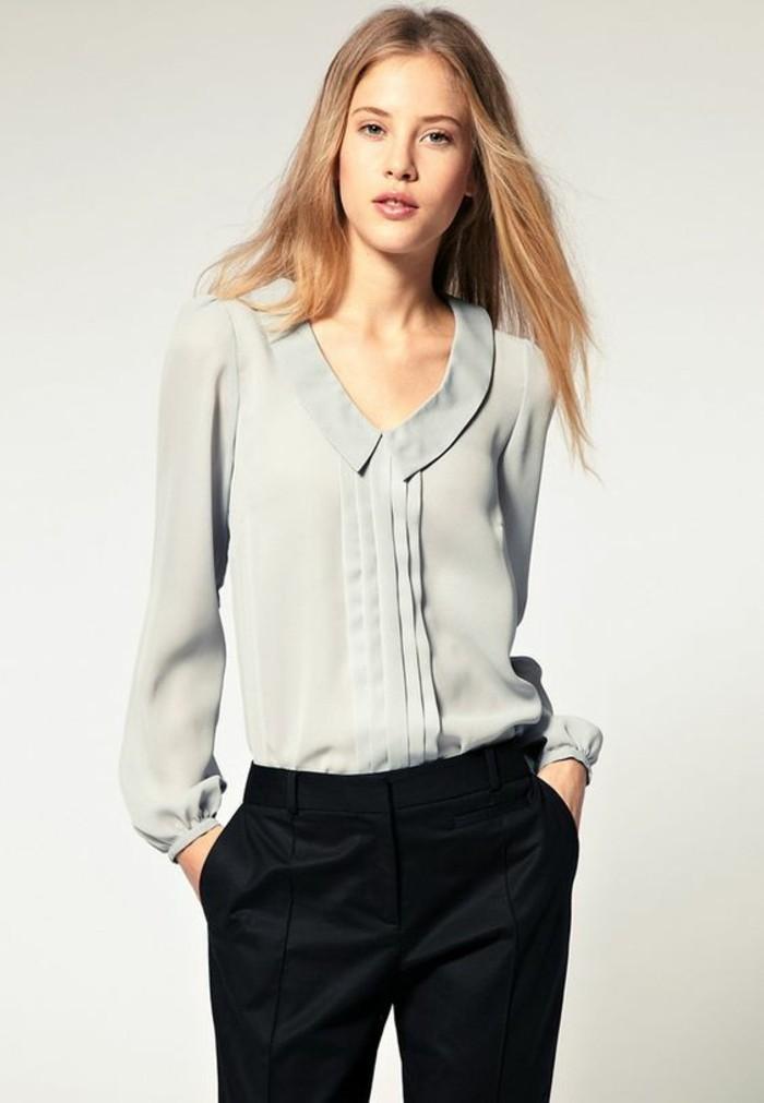 pantalon-de-tailleur-noir-chemise-fluide-femme-élégante