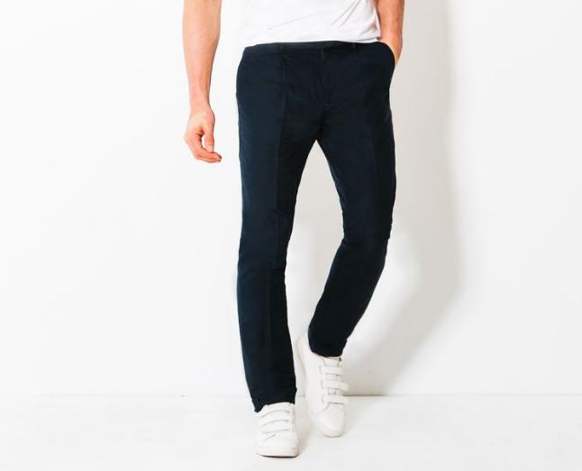 pantalon a pince chino bleu marine coupe regular