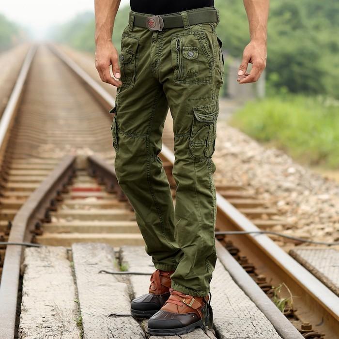 pantalon homme cargo kaki homme multipoches battle