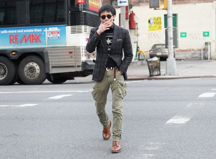pantalon homme cargo kaki multipoches battle slim