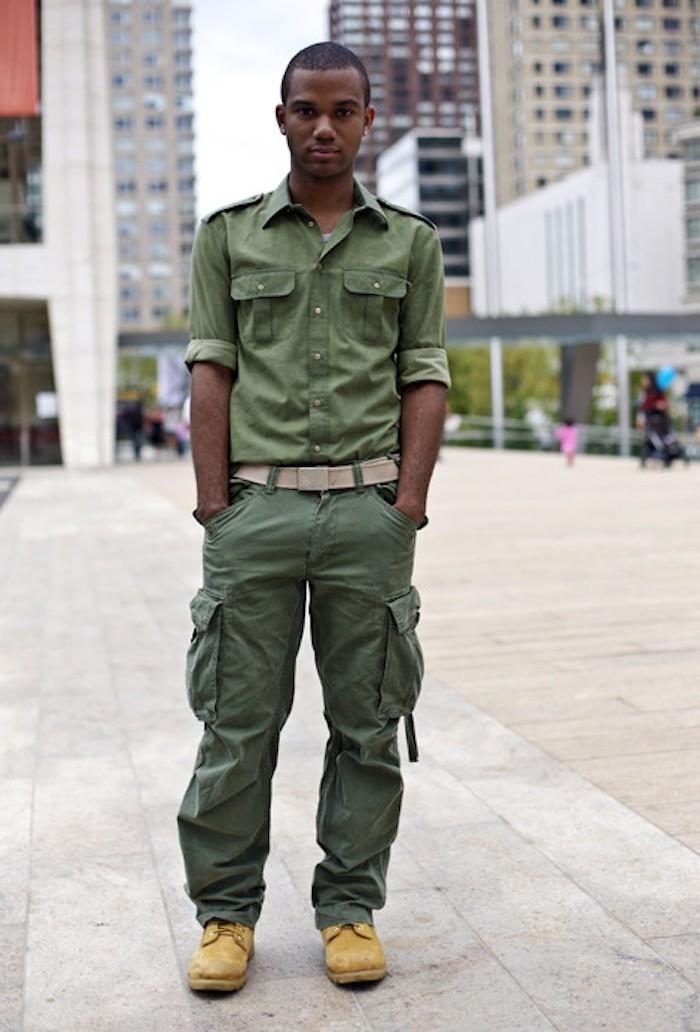 pantalon homme cargo kaki treillis militaire coupe droite regular