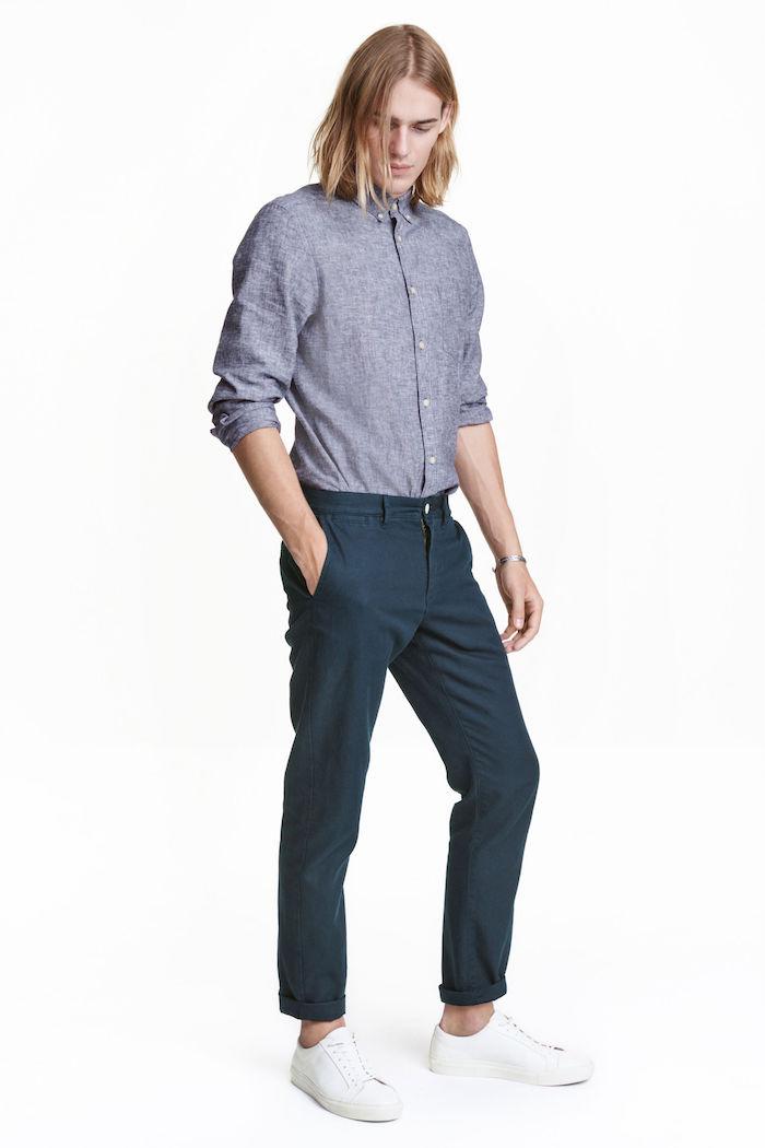 chino homme pantalon bleu marine léger pour été