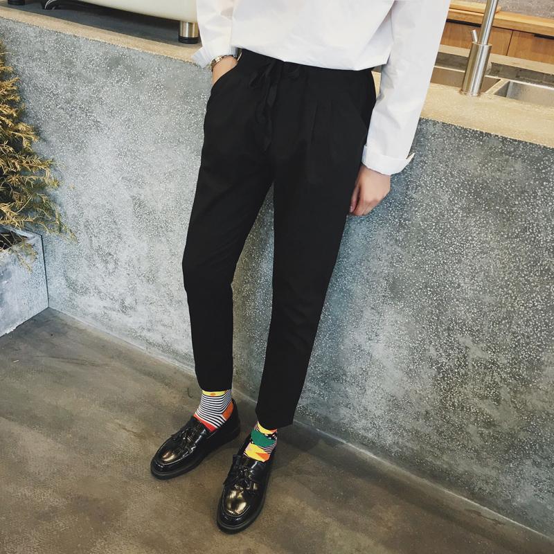 pantalon chino a pince noir court style hipster