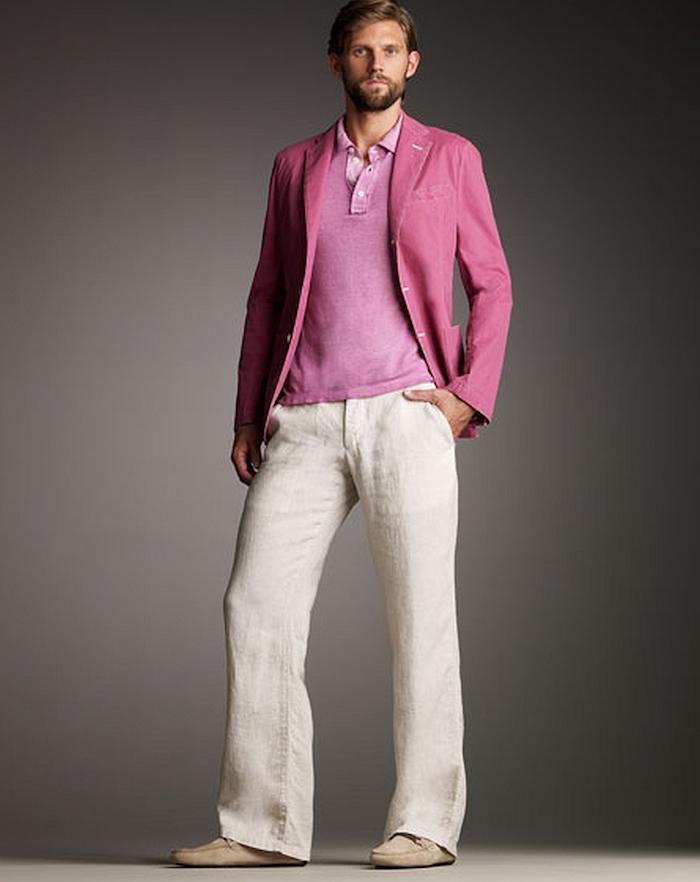 pantalon homme patte d'eph style 70 en lin avec veste coton rose