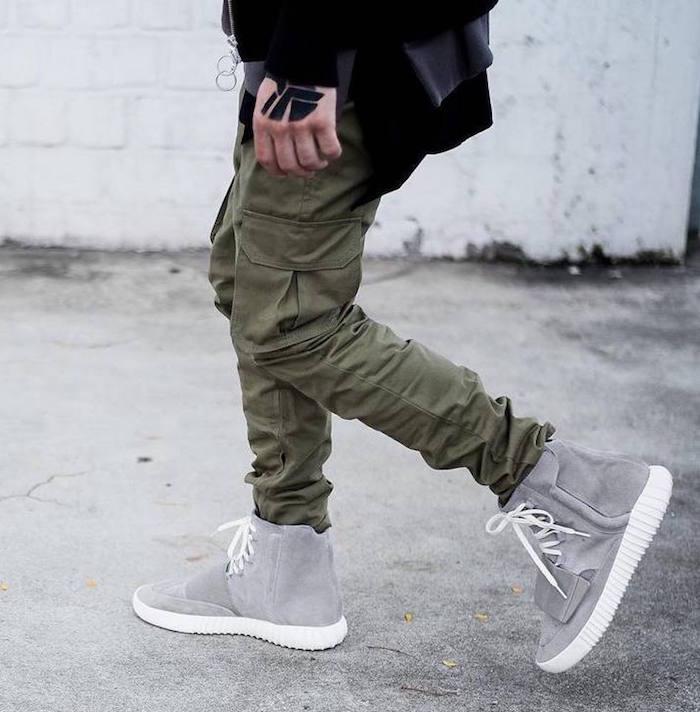 pantalon treillis cargo kaki coupe regular vert style hipster