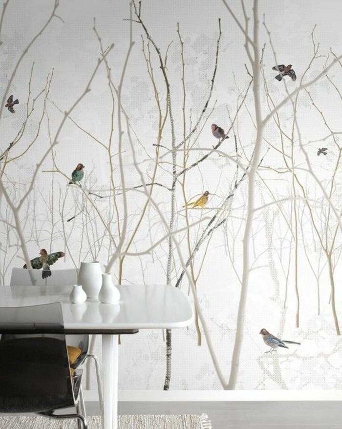 papier-peint-3d-motif-forêt-d'oiseaux-salon-moderne-