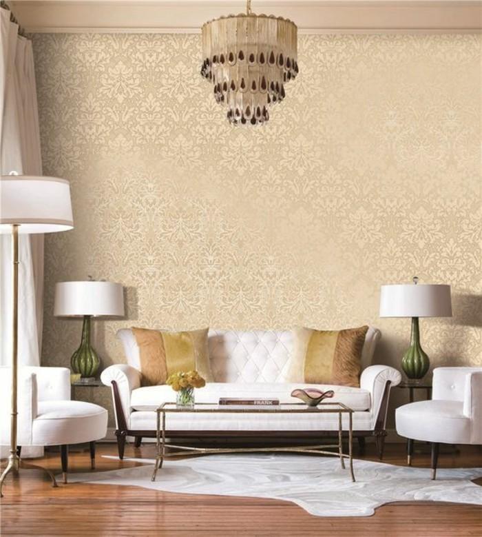 papier-peint-3d-vintage-canapé-blanc-papier-peint-doré