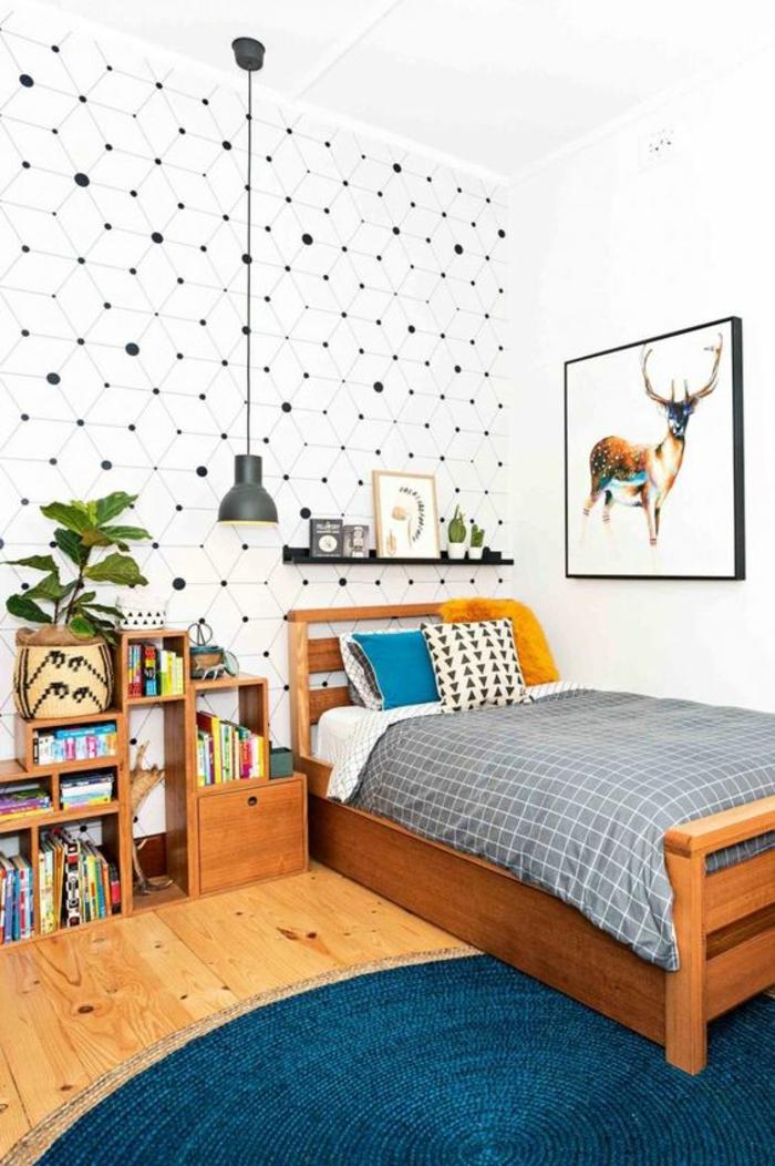 papier-peint-branché-chambre-d'ado-garçon-bois-suspension-industrielle