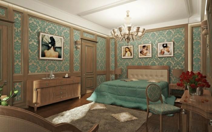 couleur chambre parental, meubles en bois, papier peint chambre, peintures, bouquet de roses