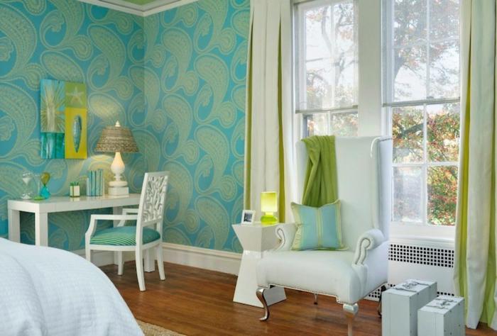 deco chambre adulte bleu, papier peint chambre turquoise, fauteil blanc