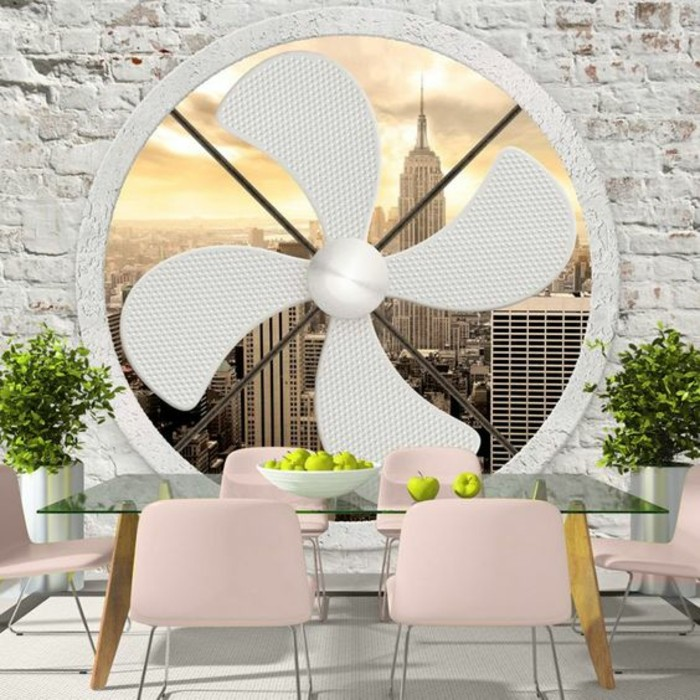 papier-peint-effet-pierre-effet-3d-salle-à-manger-