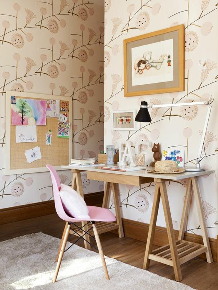 papier-peint-floral-déco-chambre-ado-fille-bois
