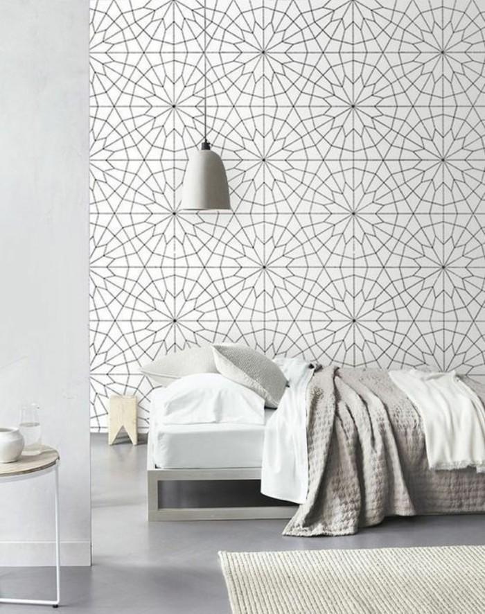 papier-peint-géométrique-chambre-à-coucher-à-moderne-intérieur-blanc