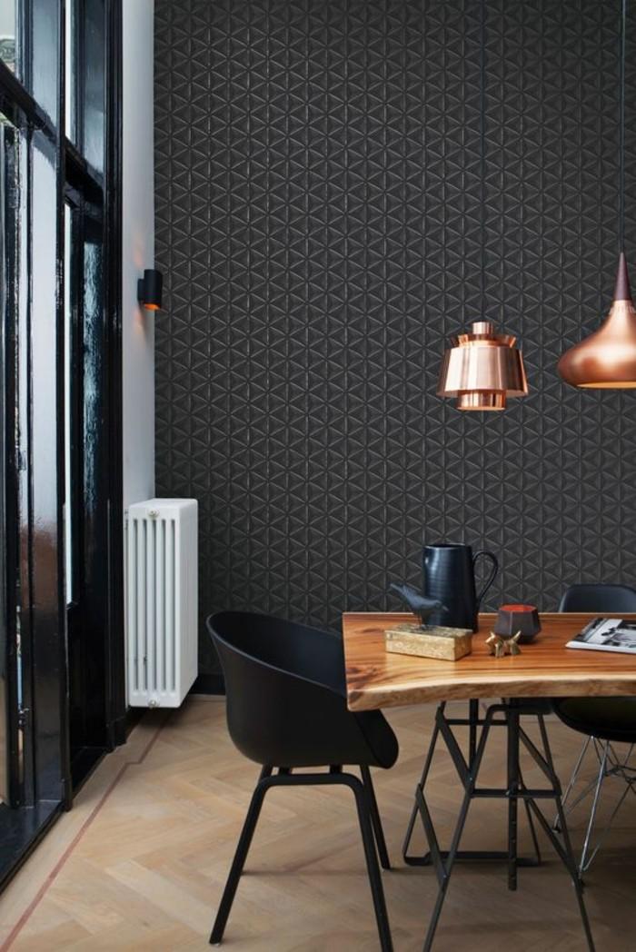 papier-peint-géométrique-intérieur-gris-salle-à-manger-moderne-