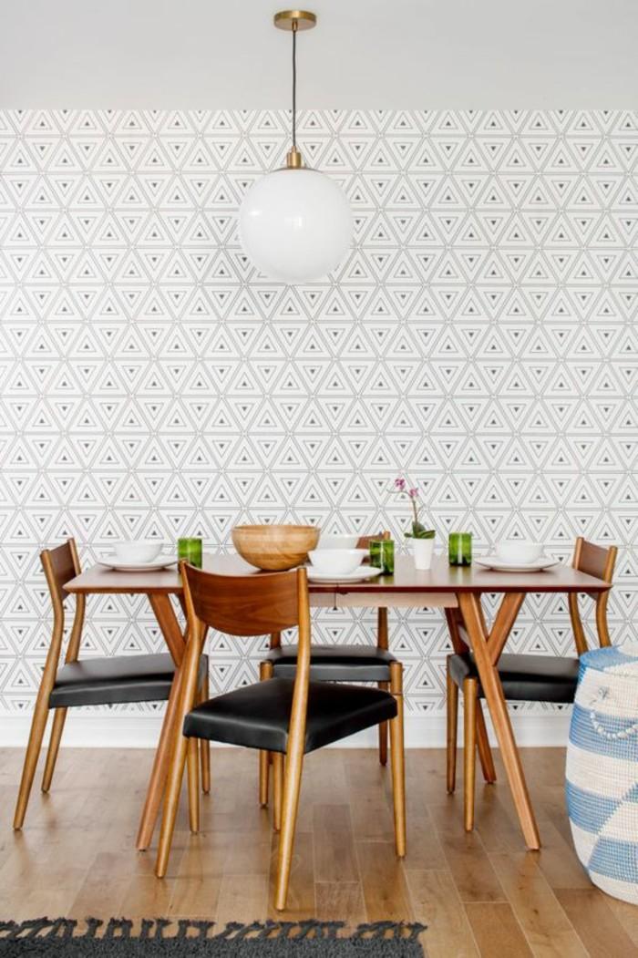 papier-peint-géométrique-salle-de-manger-moderne-