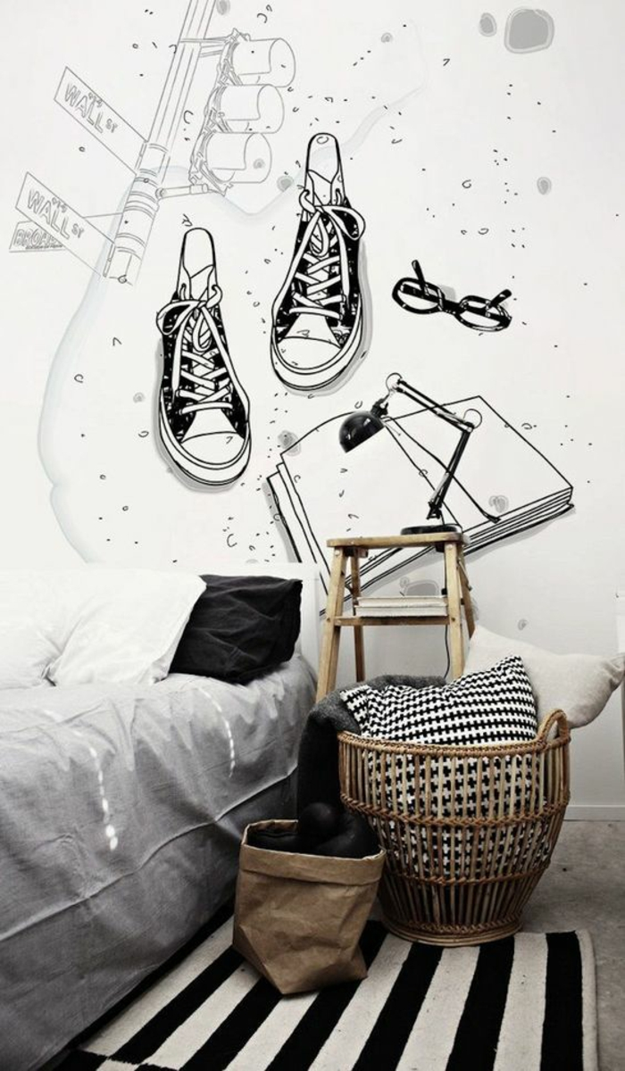 papier-peint-garçon-tapis-rayé-chambre-d'ado-garçon