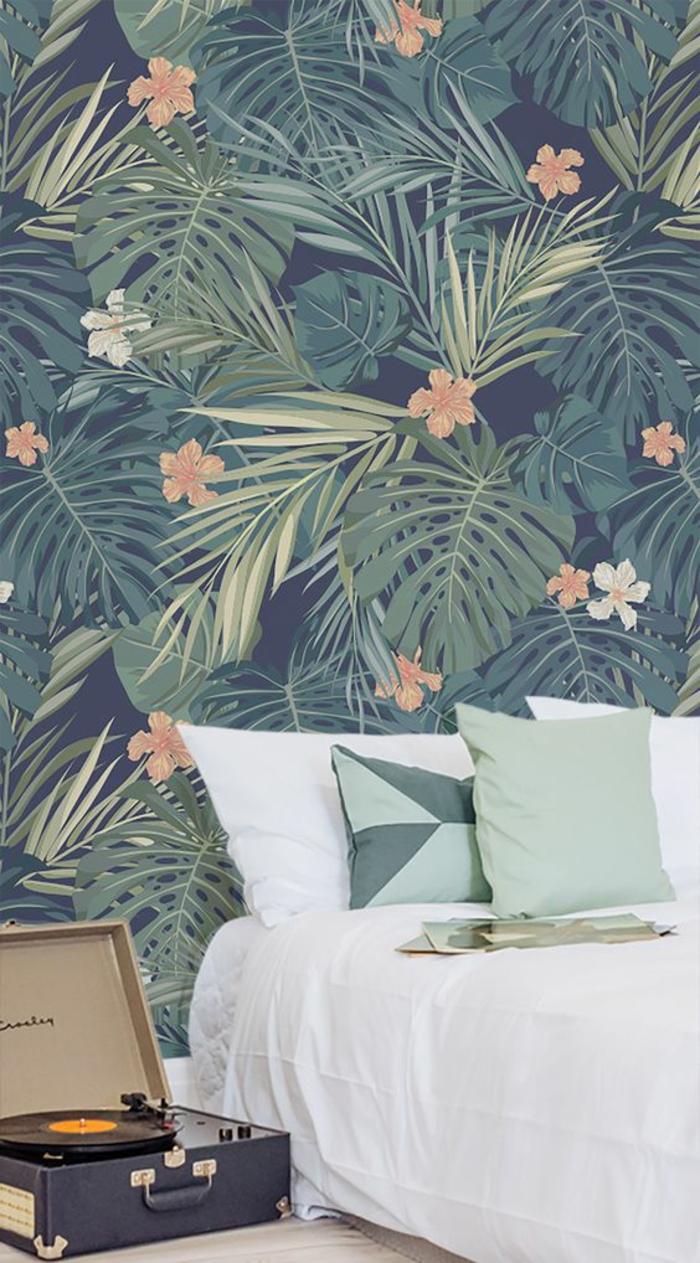 papier-peint-jungle-chambre-à-coucher-bohème