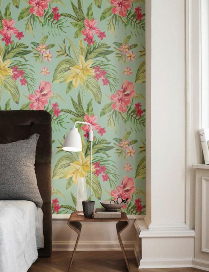 papier-peint-jungle-chambre-à-coucher-moderne