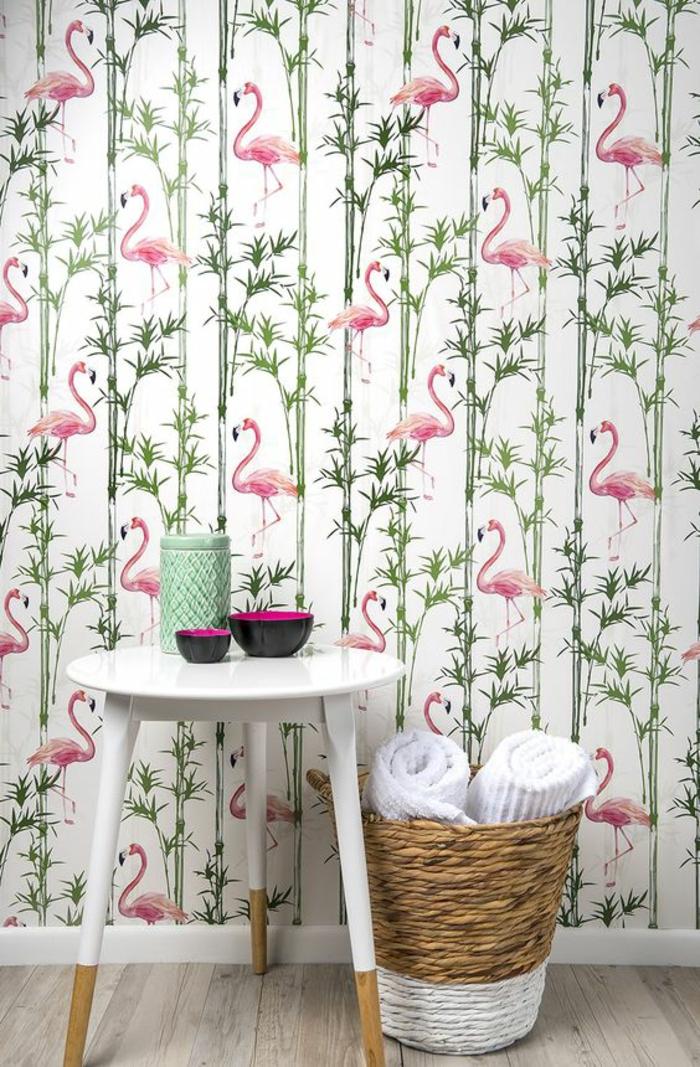 papier-peint-mural-insolite-motif-exotque-flamant