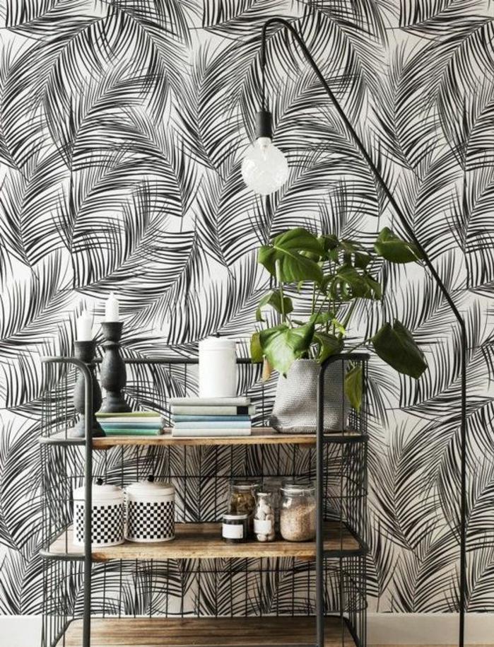 papier-peint-mural-noir-et-blanc-déco-tropicale
